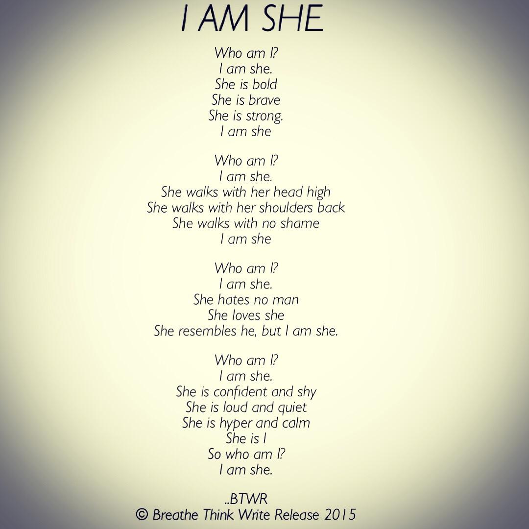 who am i i am she breathe think write release