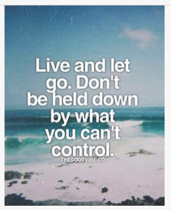Live and let go. Don't be held down by what you can't control